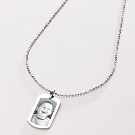 Personalised Dogtag Necklace with Photo Engraved