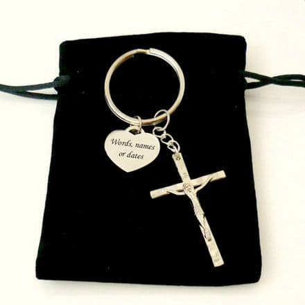 Personalised Keyring with Crucifix and Heart Charm