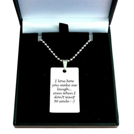 Personalised Necklace for Man or Boy, Engraved ID Tag