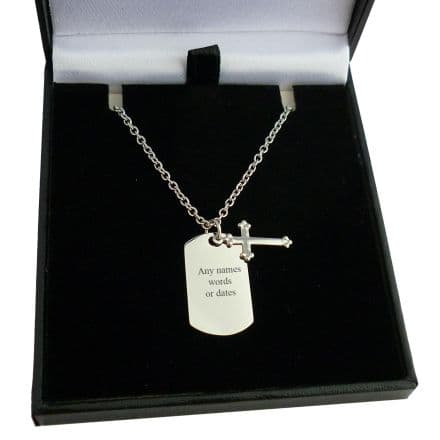 Personalised, Small Dog Tag Necklace for Boys, with Cross Pendant and Any Engraving