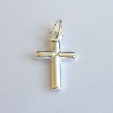 Plain Cross Charm, Sterling silver on Lobster, Ring or Bail