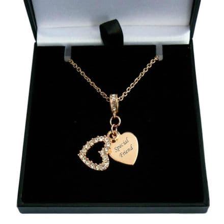 Rose Gold Crystal Heart Necklace with Personalised Engraving