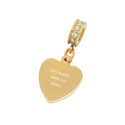 Rose Gold Heart Charm, fits Pandora, Any Engraving