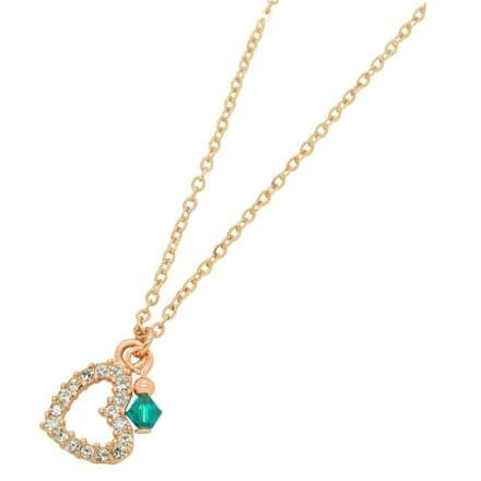 Rose Gold Heart Necklace with Birthstone Charm