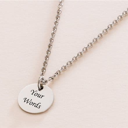 Round Pendant Necklace with Engraving