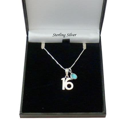 Silver 16th Birthday Necklace with Birthstone Channel Charm