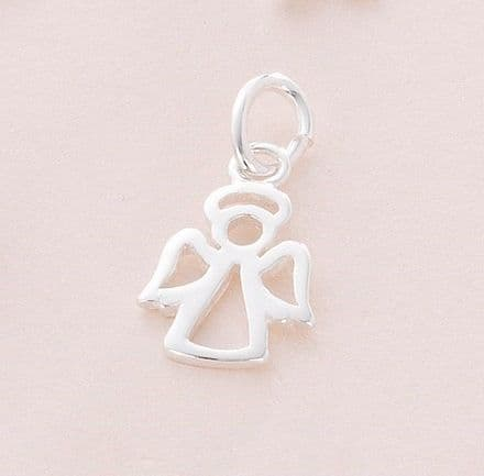 Silver Angel Charm on Lobster Clasp, Split Ring or Bail