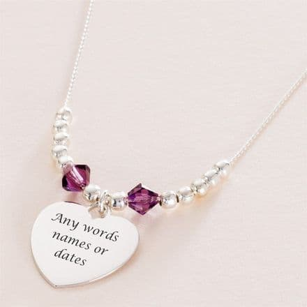 Silver Beads Birthstone Necklace with Engraving