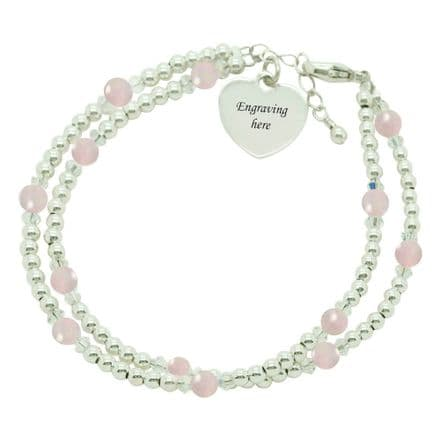 Silver Beads Bracelet with Quartz and Any Engraving