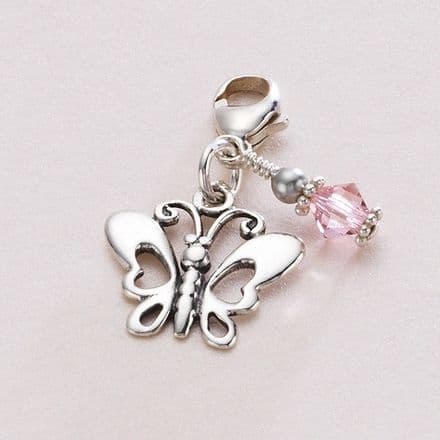 Silver Butterfly Birthstone Charm