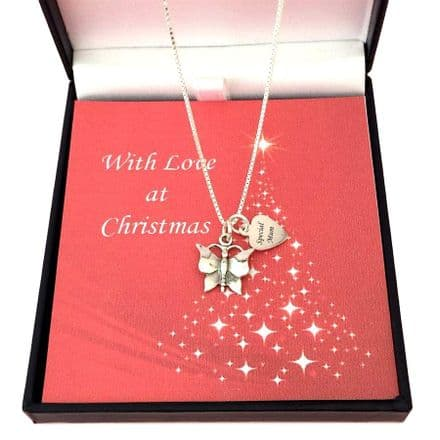 Silver Butterfly Christmas Necklace with Engraving