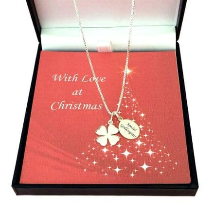Silver Clover, Christmas Necklace with Engraving