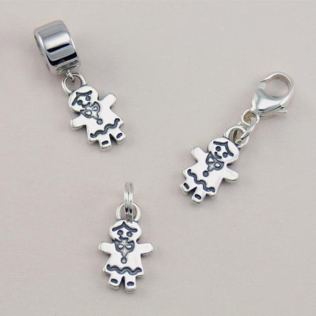 Gingerbread Girl Charm, Sterling Silver on Lobster Clasp, Split Ring or Bail | Charming Engraving