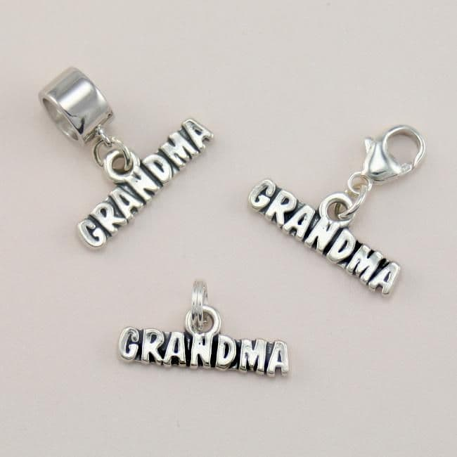 Grandma Charm Sterling Silver on Lobster Clasp, Split Ring or Snake Bail | Charming Engraving