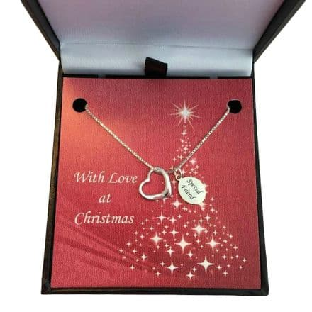 Silver Heart Necklace with Engraving and Christmas Gift Box