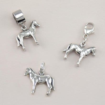 Silver Horse Pony Charm on Clasp, Split Ring or Bail