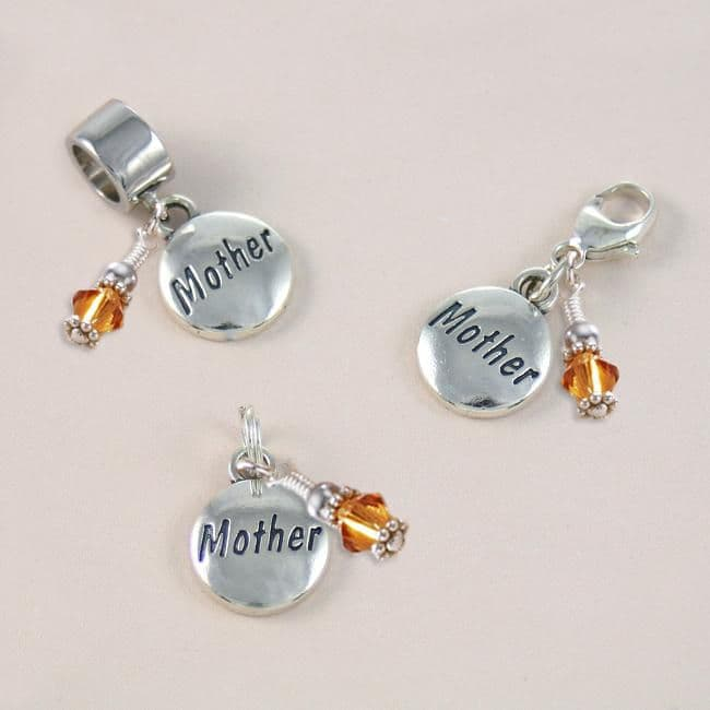 Mother Charm, Sterling Silver with Birthstone on Lobster Clasp, Split Ring or Snake Bail | Charming Engraving