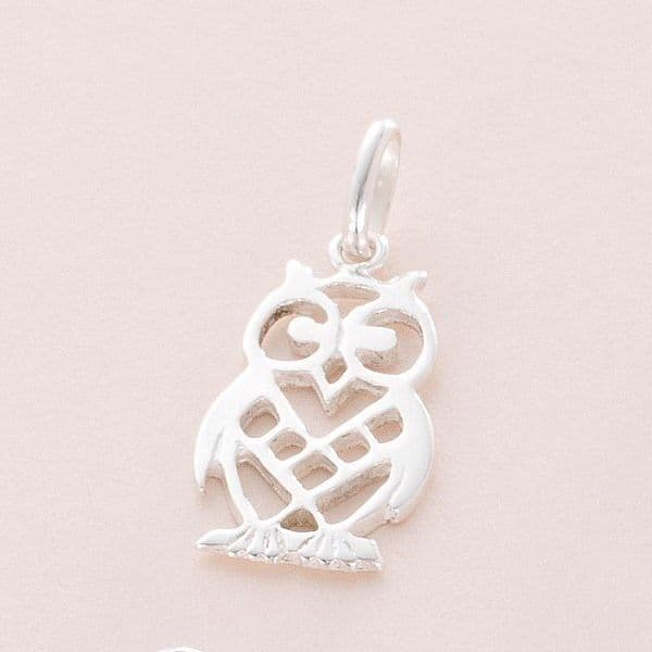 Owl Charm, Sterling silver   Charming Engraving