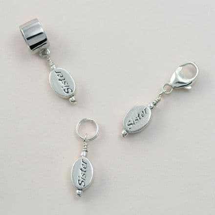 Silver Sister Charm on Lobster Clasp, Split Ring or Snake Bail