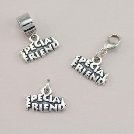 Silver Special Friend Charm on Lobster Clasp, Split Ring or Bail