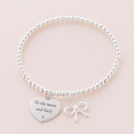 Silver Stacking Bracelet with Engraving & Charm Choice
