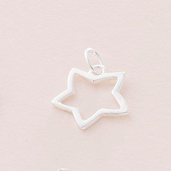 Open Star Charm, Sterling silver   Charming Engraving
