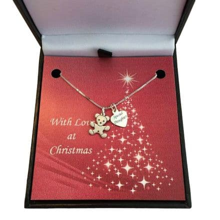 Silver Teddy Christmas Necklace with Engraving
