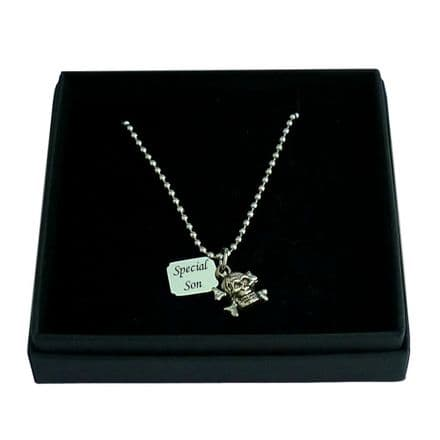 Skull and Crossbones Necklace with Engraved Tag