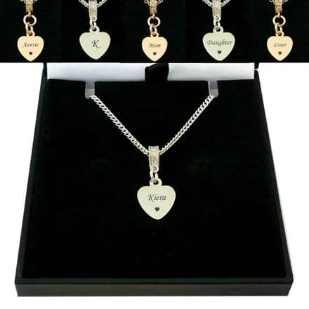 Small Heart Necklace with Personalised Engraving