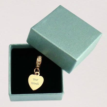 Small Rose Gold Heart Charm, fits Pandora, Any Engraving