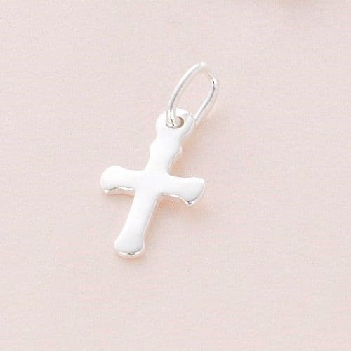 Small Cross Charm, Sterling silver | Charming Engraving