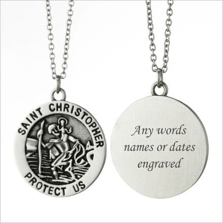 St Christopher Necklace, Personalised with Engraving