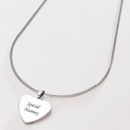 Steel Heart Pendant Necklace with Engraving