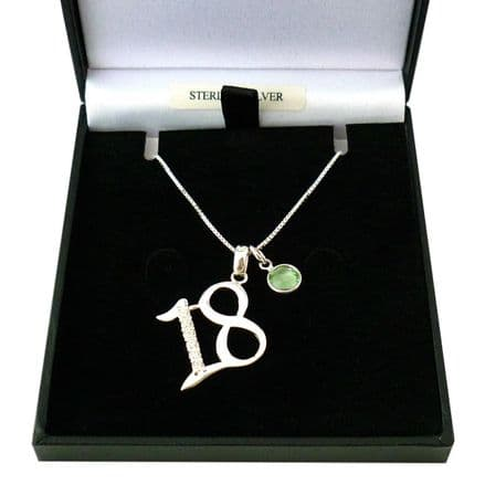 Sterling Silver 18th Birthday Necklace with Birthstone charm