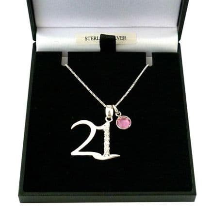Sterling Silver 21st Birthday Necklace with Birthstone