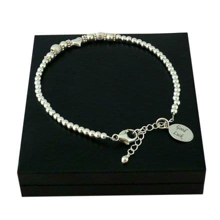 Sterling Silver Beads Bracelet with a Single Silver Heart Bead