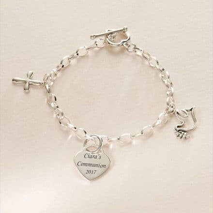 Sterling Silver Charm Bracelet with Dove and Cross Charms