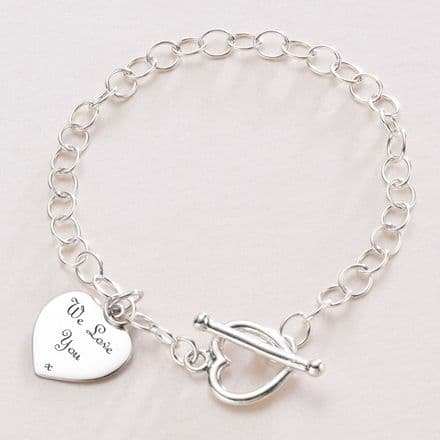 Sterling Silver Charm Bracelet with Heart Toggle