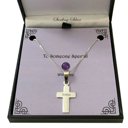 Sterling Silver Cross Necklace. Gift for Grandson, Son etc