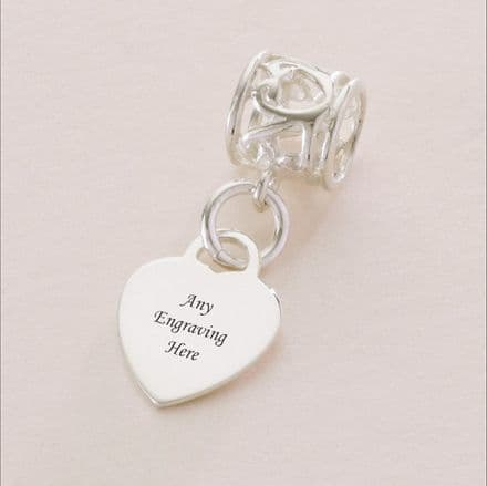 Sterling Silver Heart Charm, fits Pandora, Any Engraving