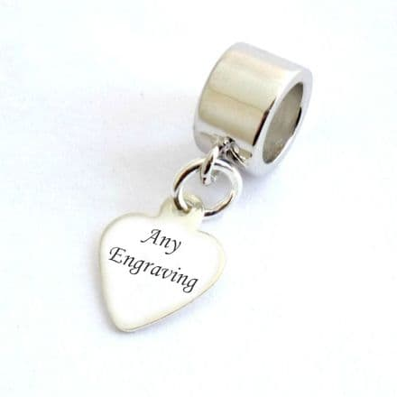 Sterling Silver Heart Tag fits Pandora, Any Engraving