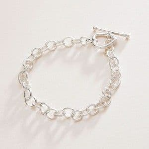 Sterling Silver Heart Toggle Bracelet Chain