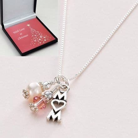 Sterling Silver Mum Necklace with Birthstone