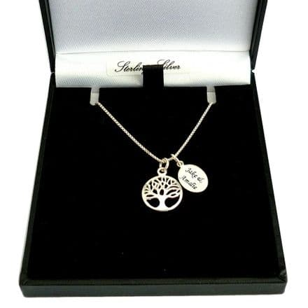 Sterling Silver Necklace with Tree of Life Pendant and Engraving