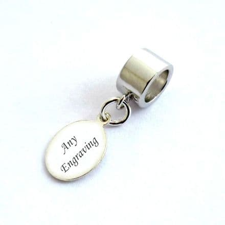 Sterling Silver Oval Tag fits Pandora, Any Engraving