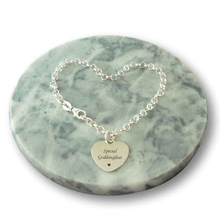 Sterling Silver Rolo Chain Bracelet with Engraved Heart