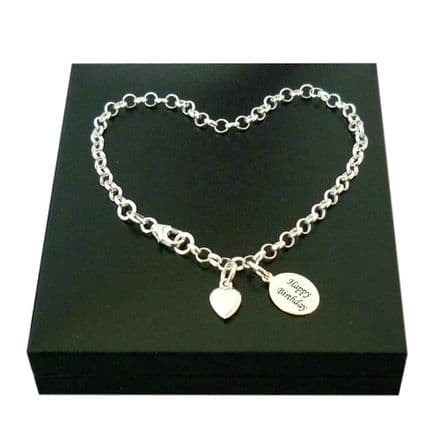 Sterling Silver Rolo Chain Bracelet with Engraving