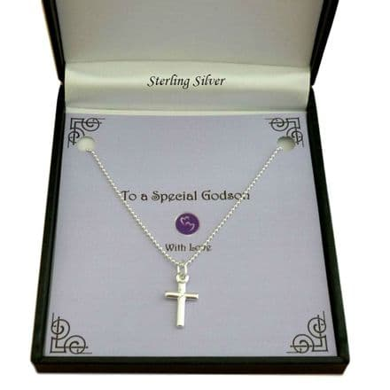 Sterling Silver Small Cross Necklace on Ball Chain