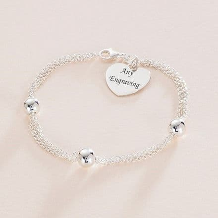 Three Bead Silver Bracelet with Engraved Heart