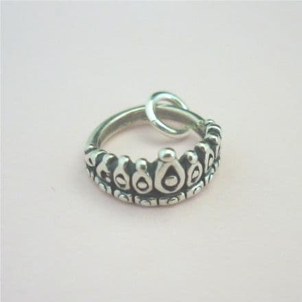Tiara Charm, Sterling silver on Lobster Clasp, Split Ring or Bail